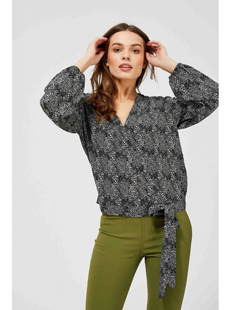 Moodo tmavá košile s mašlí s drobným vzorem