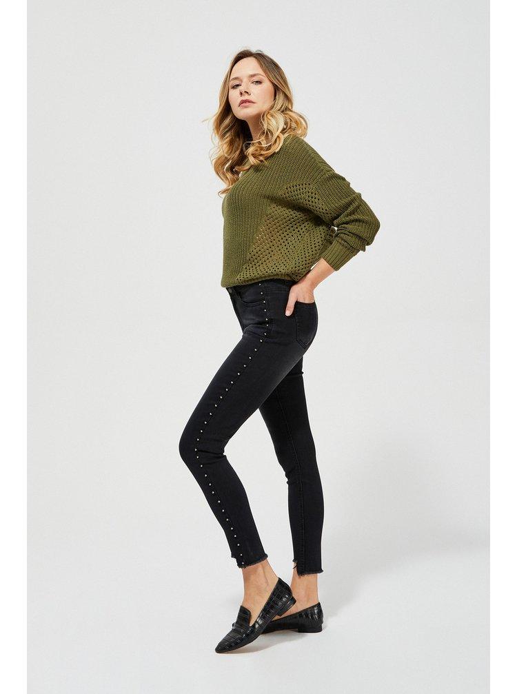 Moodo čierne džínsy s cvočky