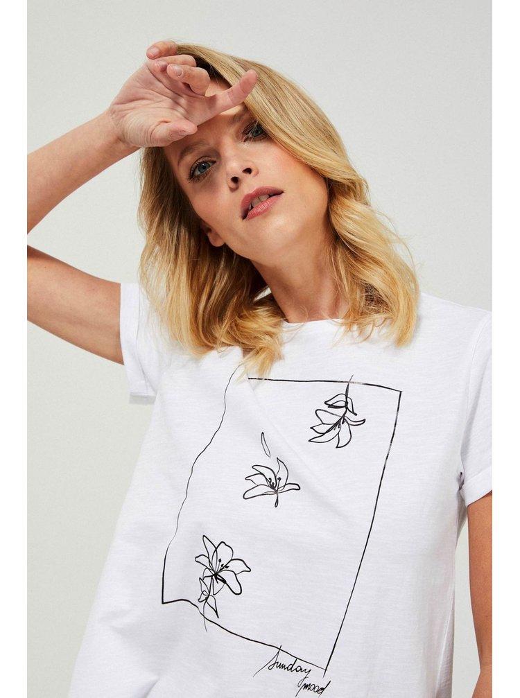 Moodo bílé tričko s potiskem