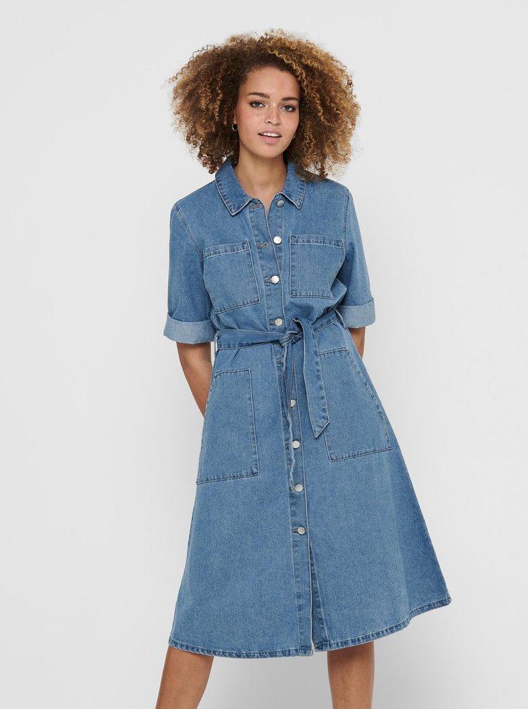 Modré rifľové košeľové šaty Jacqueline de Yong Athena