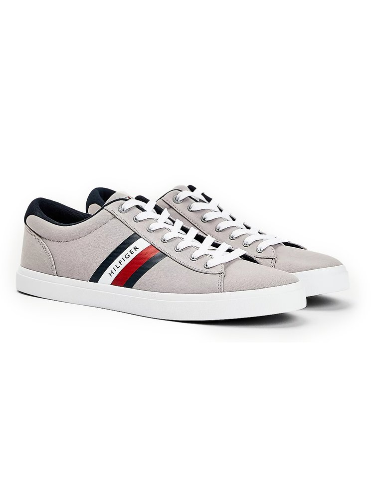 Tommy Hilfiger sivé pánske tenisky Essential Stripes Detail Sneaker