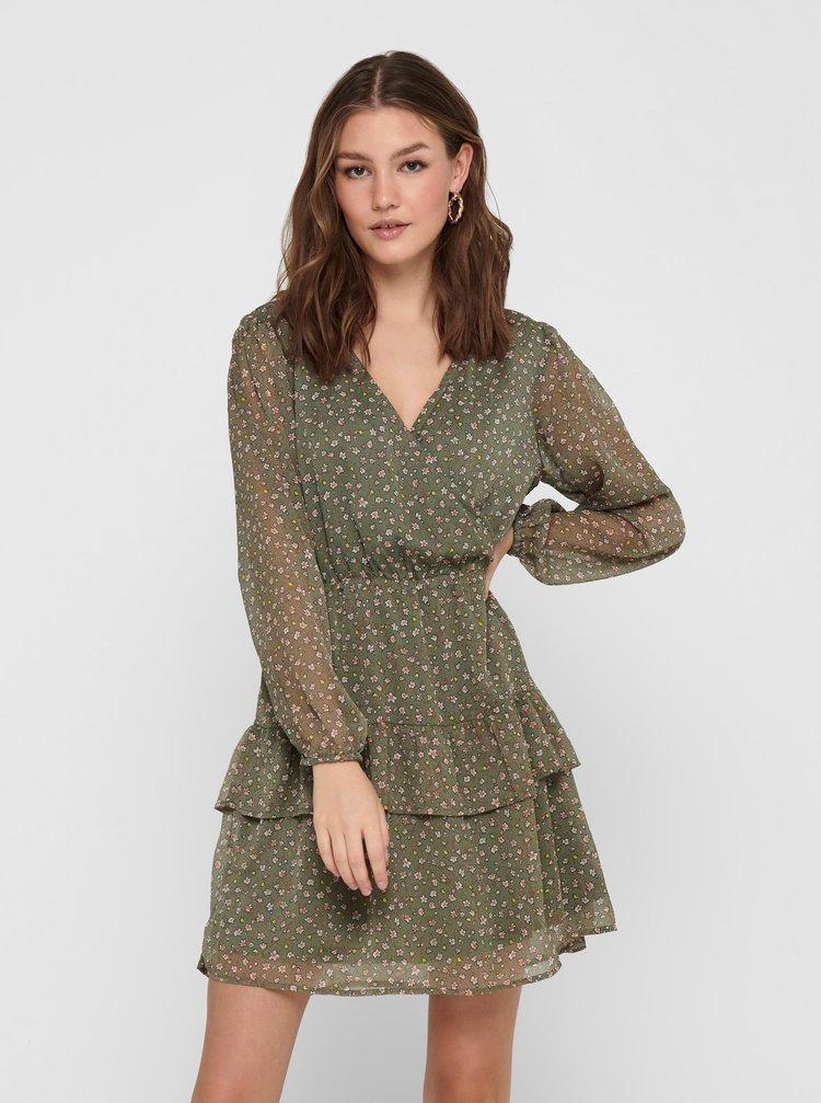 Kaki kvetované šaty Jacqueline de Yong Penelope
