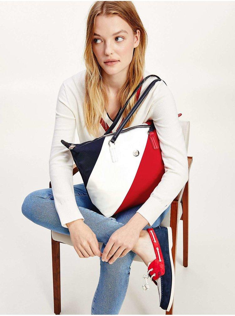 Tommy Hilfiger farebné kabelka Poppy Tote Soft Nylon Stripes Corporate Mix