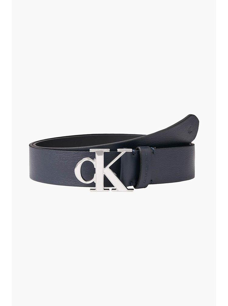 Calvin Klein modrý pánský kožený pásek Mono Plaque Belt