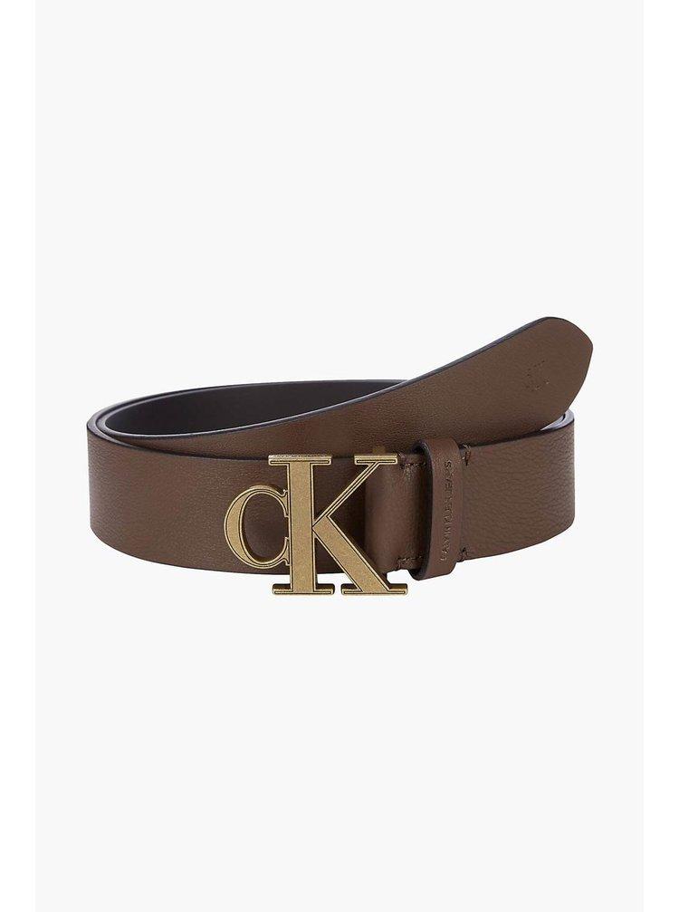 Calvin Klein hnědý kožený pánský pásek Mono Plaque Belt
