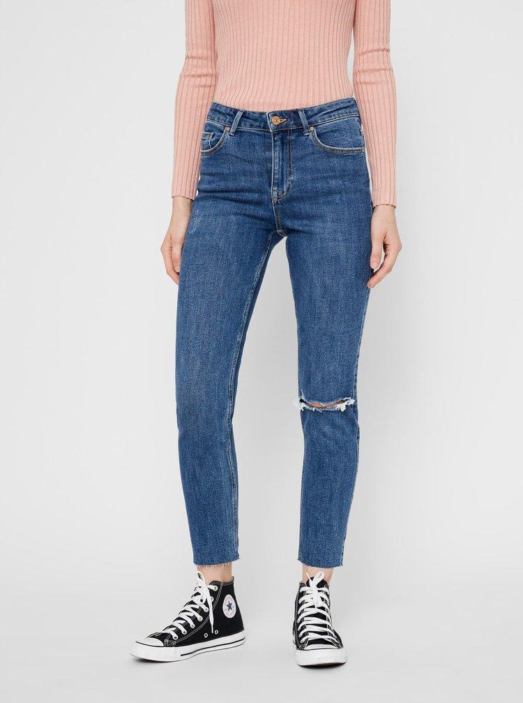 Modré zkrácené slim fit džíny Pieces Lili