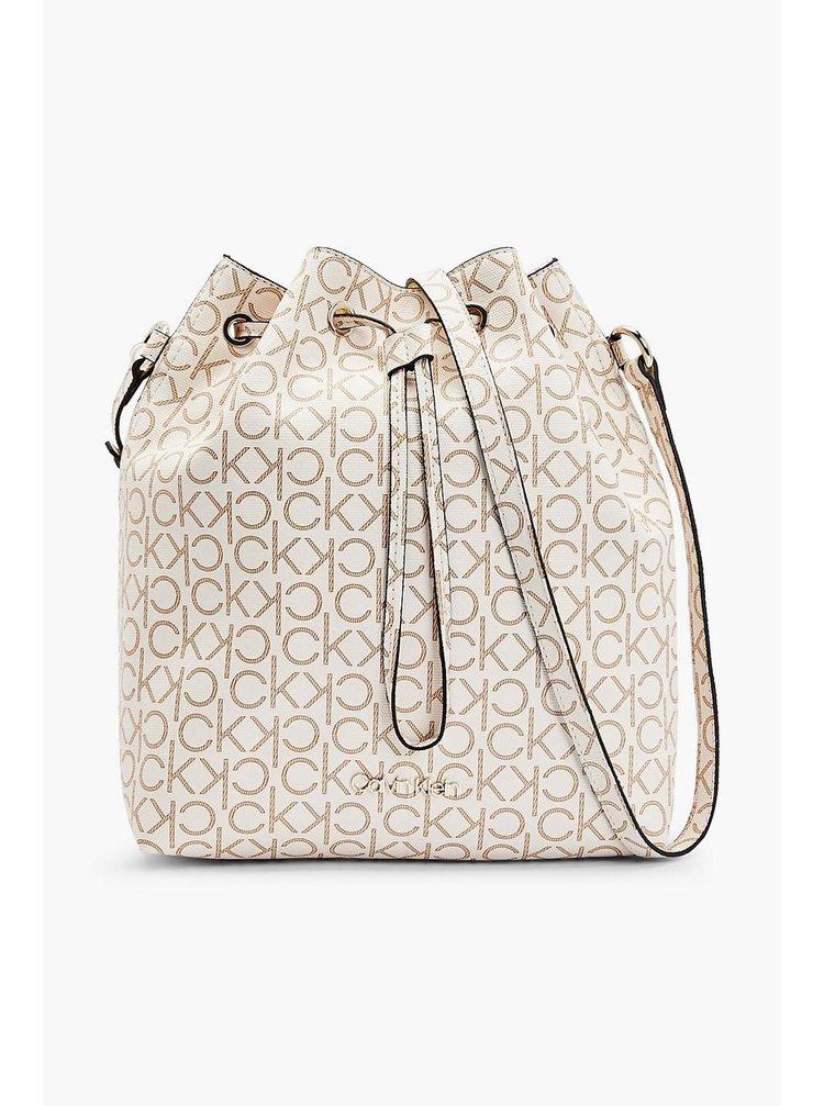 Calvin Klein smetanový stahovací vak Drawstring Bucket Bag Monogram