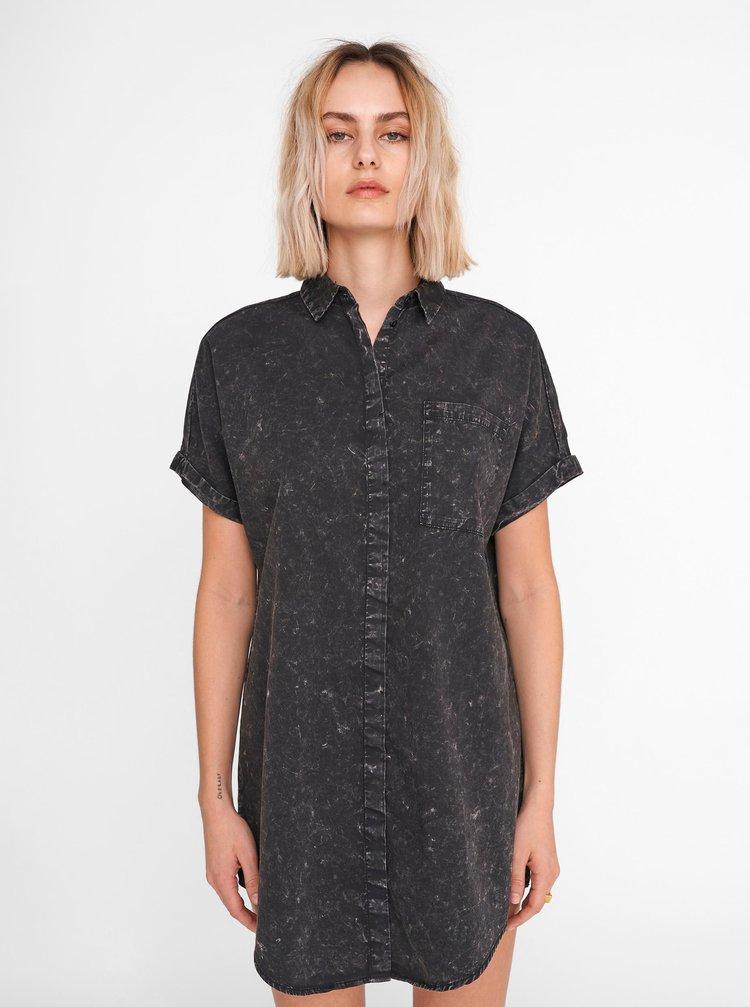 Černé žíhané košilové šaty Noisy May Sadie