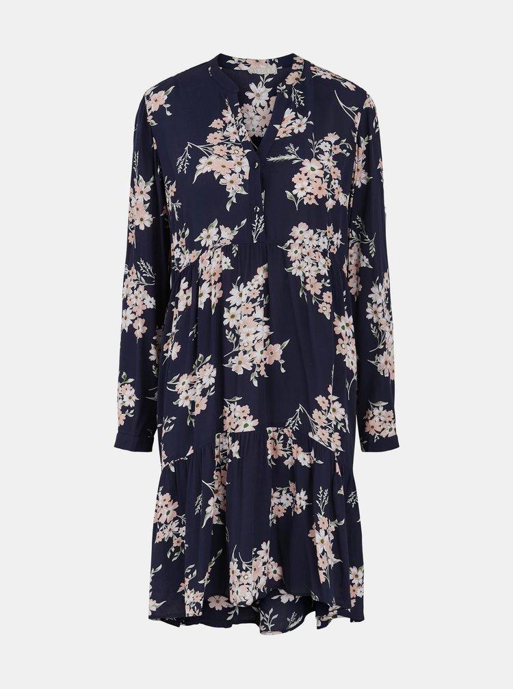 Tmavě modré květované šaty Pieces Tys