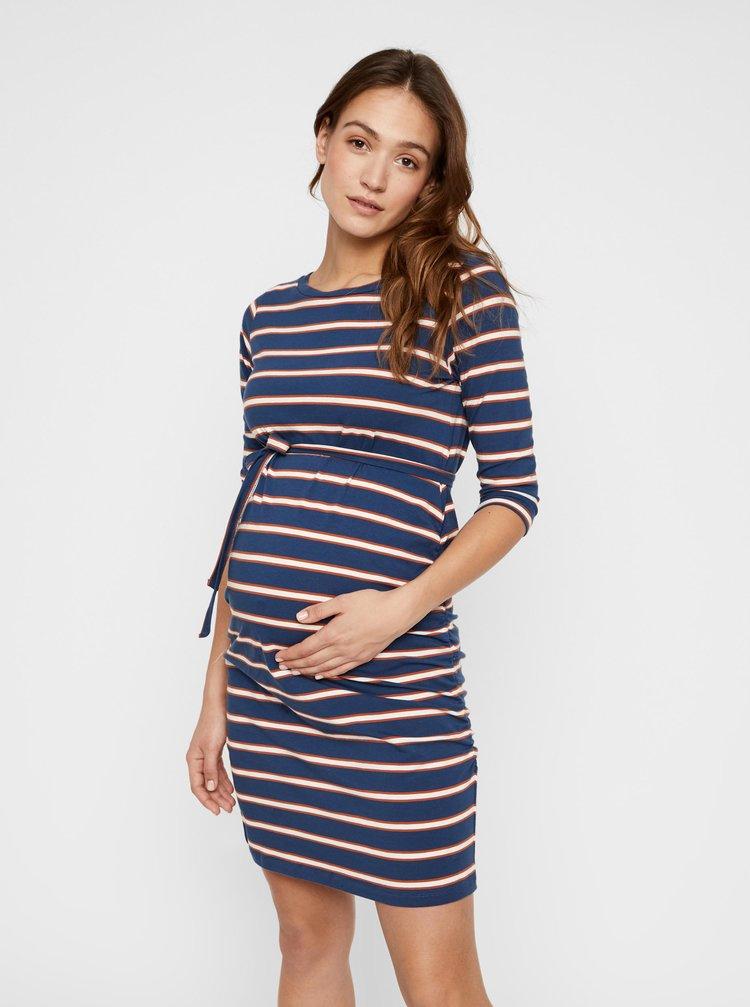 Modré tehotenské pruhované šaty Mama.licious Carmen