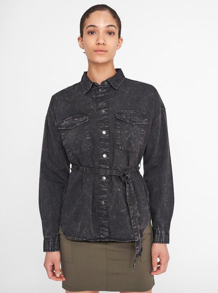 Černá žíhaná džínová košile se zavazováním Noisy May Sandra
