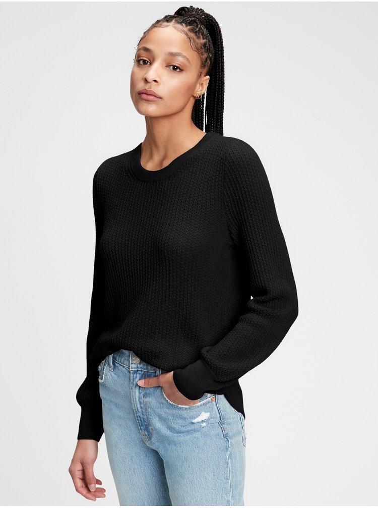 Černý dámský svetr textured crewneck bk pullover