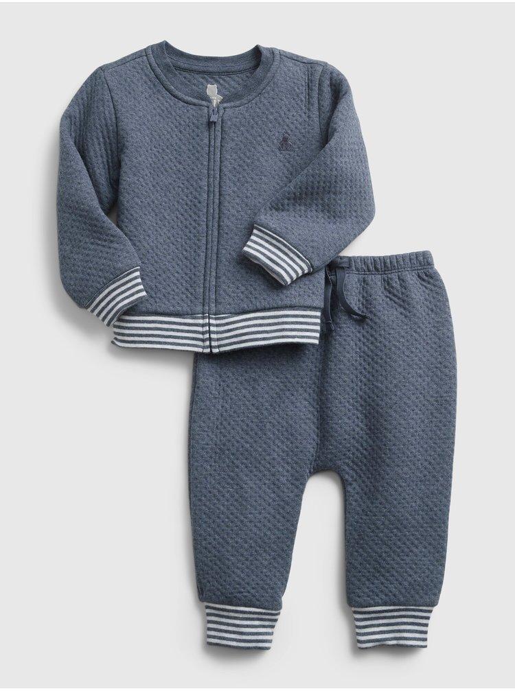 Modrá klučičí baby teplákovka quilted outfit set