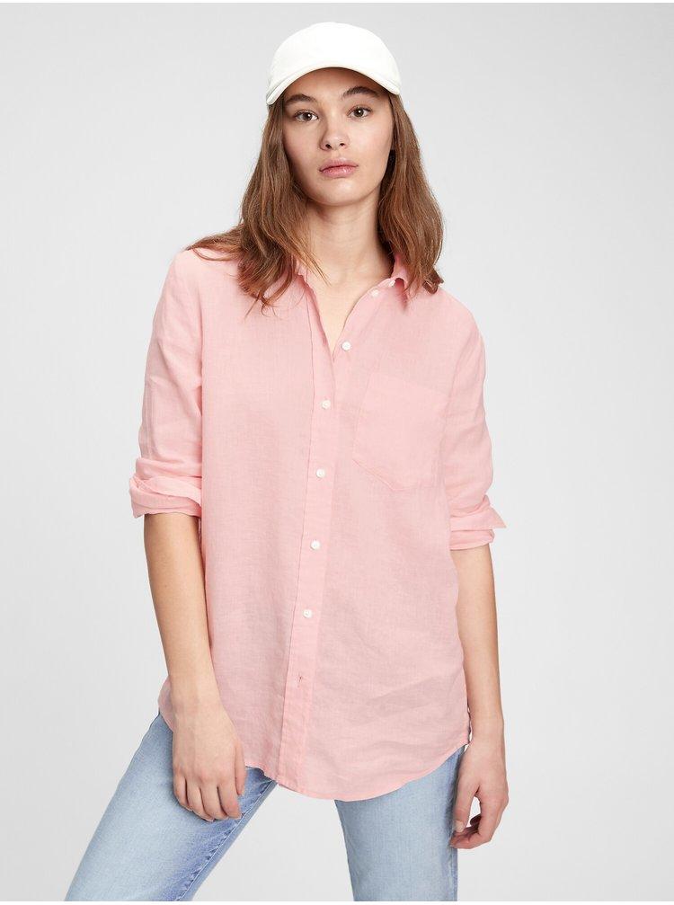 Růžová dámská košile ls linen bf sh