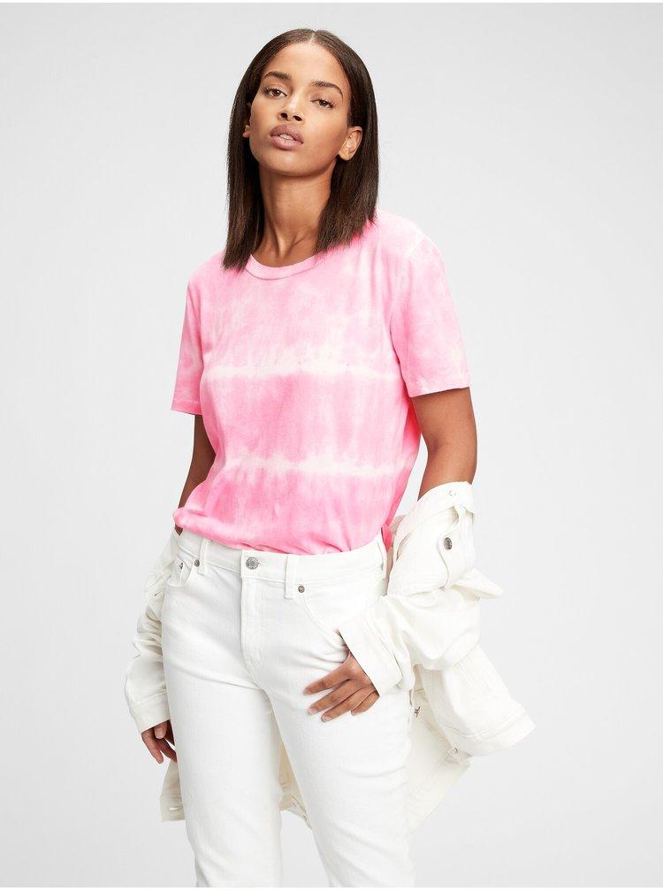 Růžové dámské tričko ss org vint cr