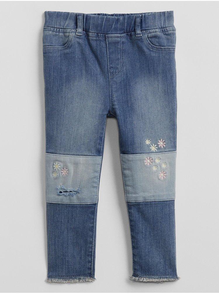 Modré holčičí dětské džíny v-jegging emb ptch ank