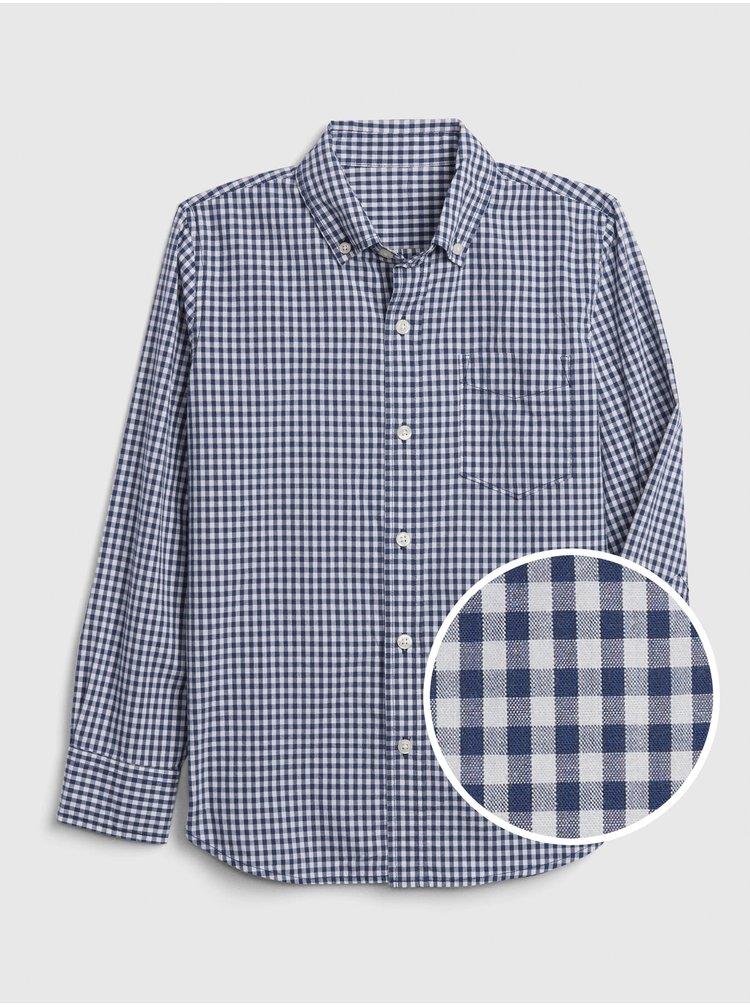 Modrá klučičí dětská košile gingham poplin