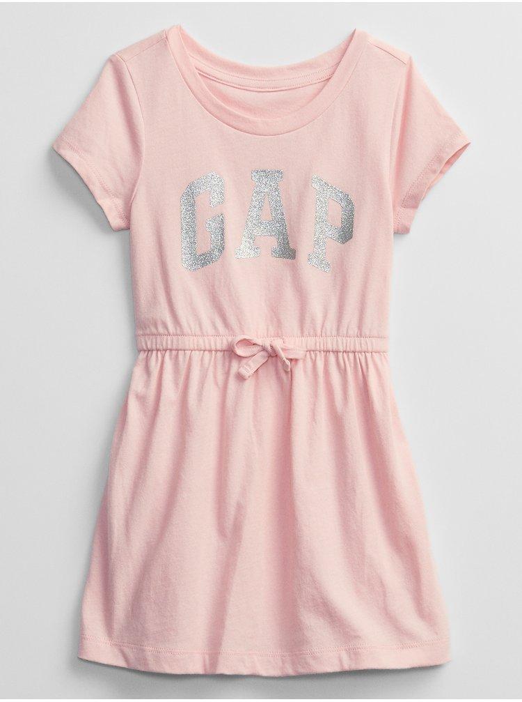 Růžové holčičí dětské šaty GAP Logo v-ss ptf knit drs