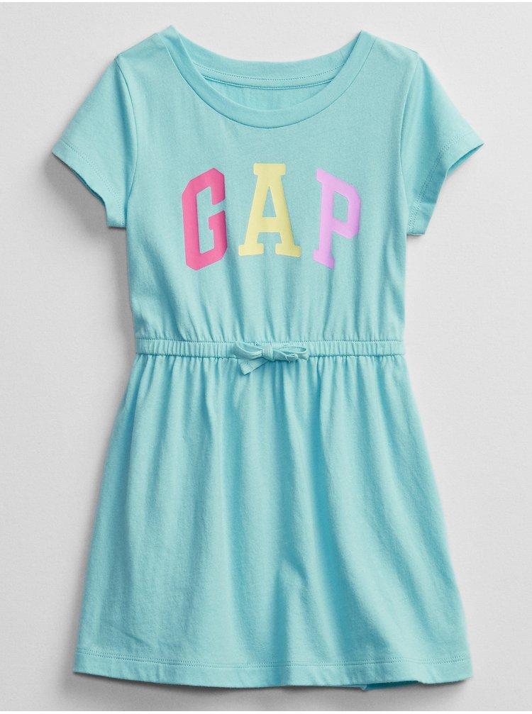 Modré holčičí dětské šaty GAP Logo v-ss ptf knit drs