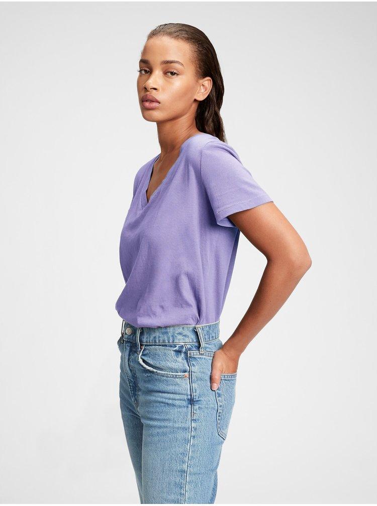 Fialové dámské tričko organic vintage v-neck