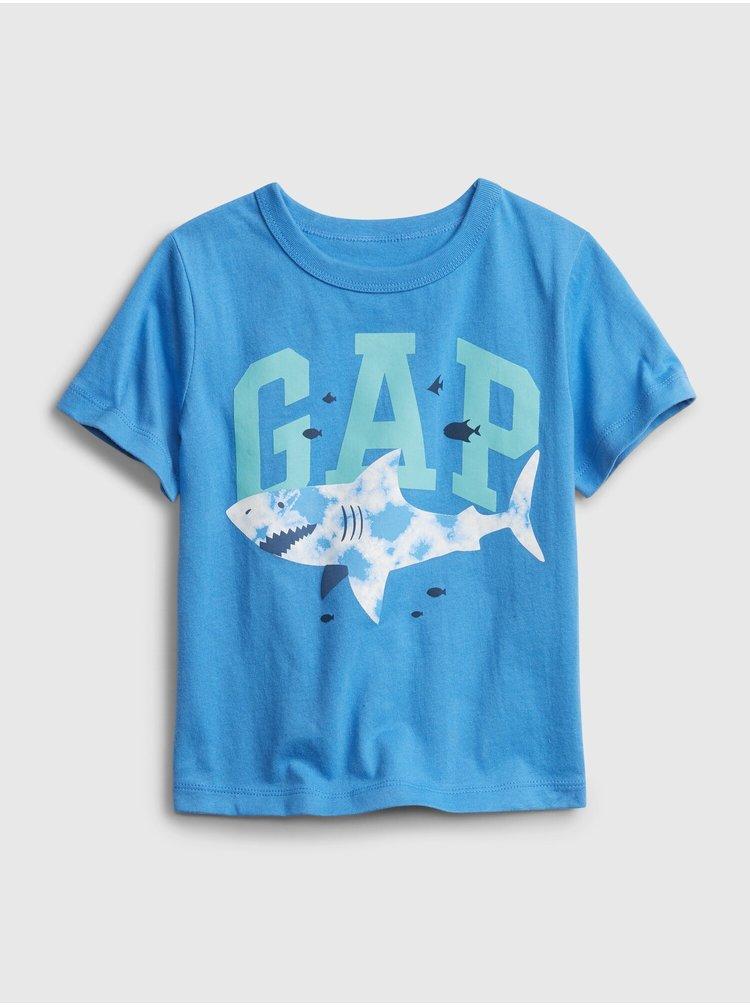 Modré klučičí dětské tričko GAP Logo ss feb ptf log