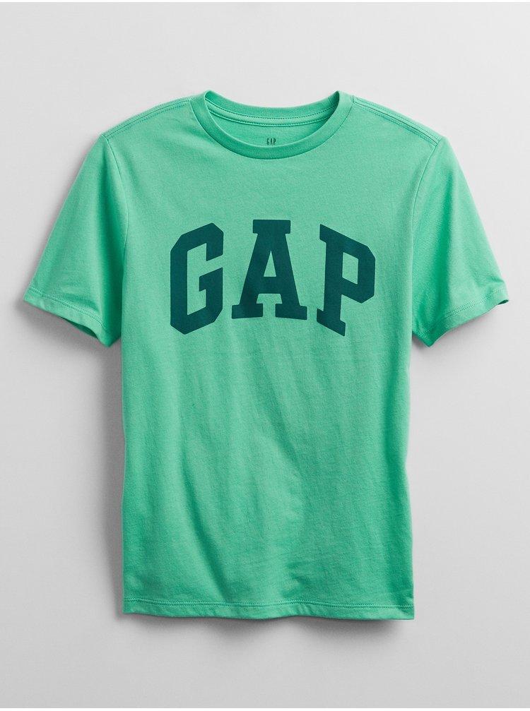 Zelené klučičí dětské tričko GAP Logo v-intl arch tee