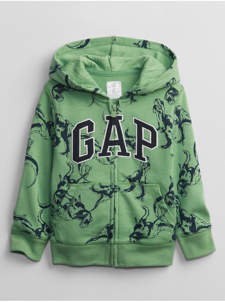 Zelená klučičí dětská mikina GAP Logo v-ft prt fz