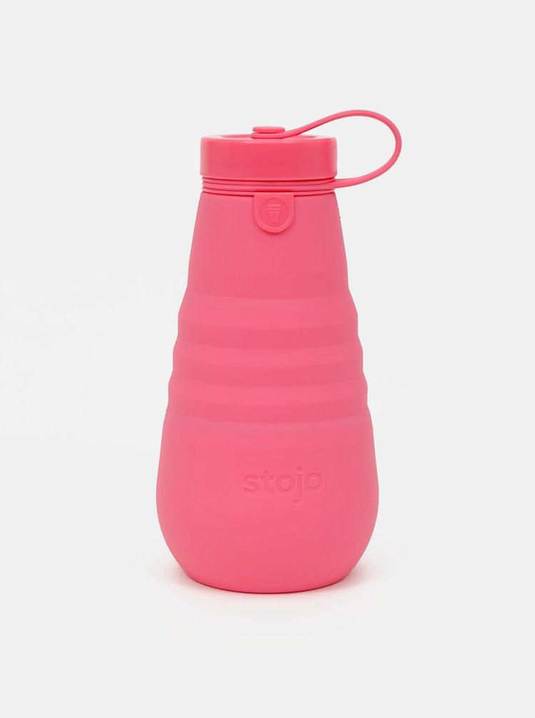 Růžová cestovní skládací láhev Stojo 590 ml