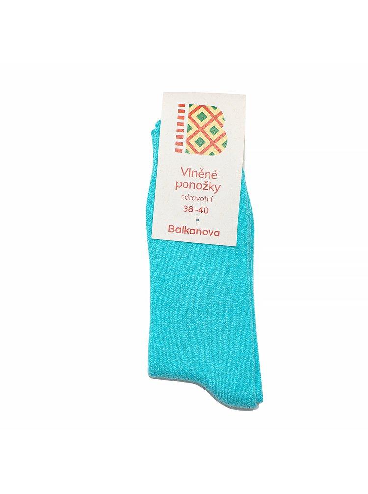 Ponožky 90% vlna, jednobarevný hladký úplet - svítivě modré