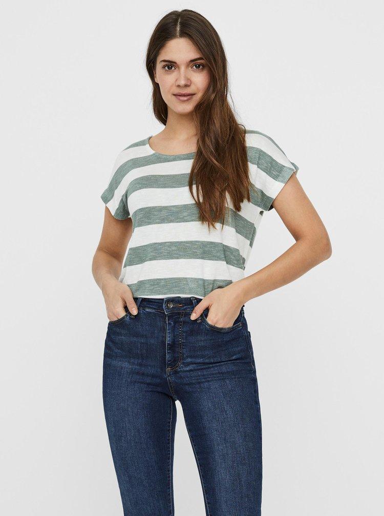Zeleno-bílé pruhované tričko VERO MODA