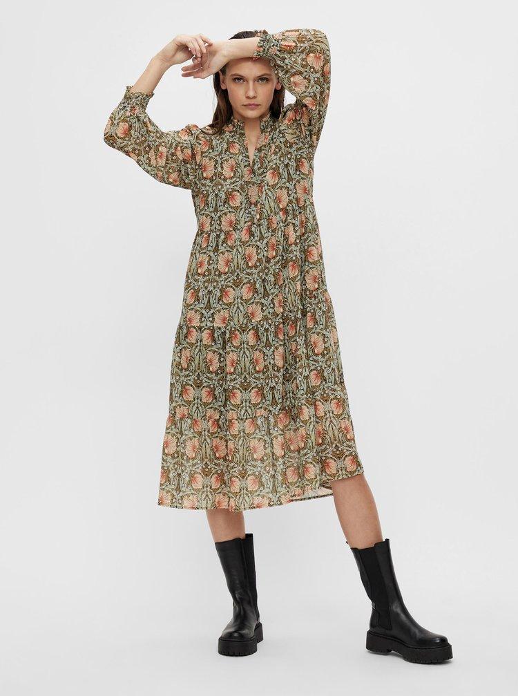 Kaki vzorované šaty .OBJECT Steph Gia