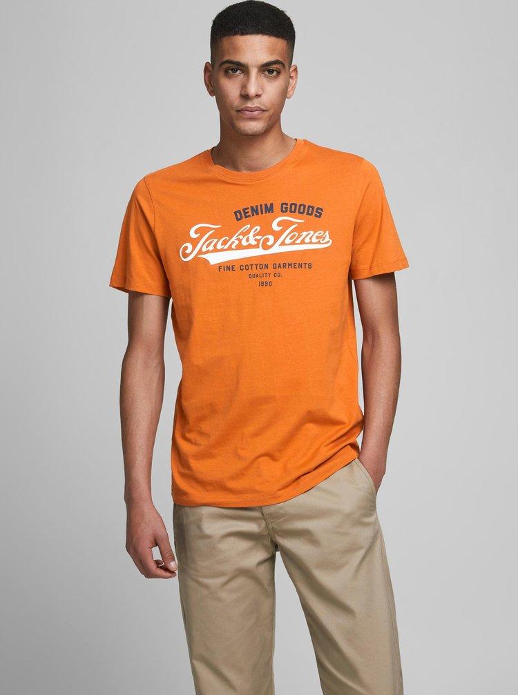 Oranžové tričko s potlačou Jack & Jones