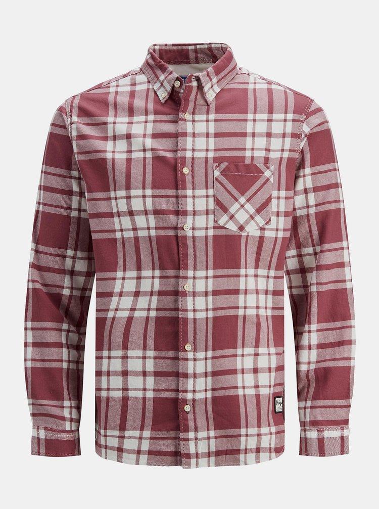 Vínová kostkovaná košile Jack & Jones Layton