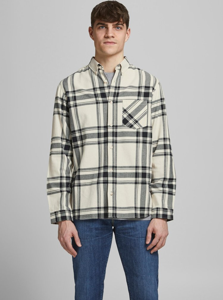 Krémová kostkovaná košile Jack & Jones Layton