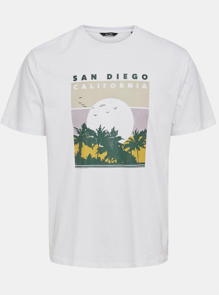 Bílé tričko s potiskem ONLY & SONS Anthony