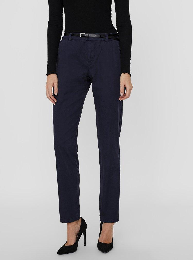 Tmavě modré kalhoty s páskem VERO MODA Flash