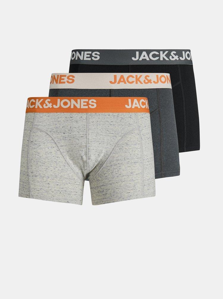 Sada troch boxeriek v čiernej a šedej farbe Jack & Jones