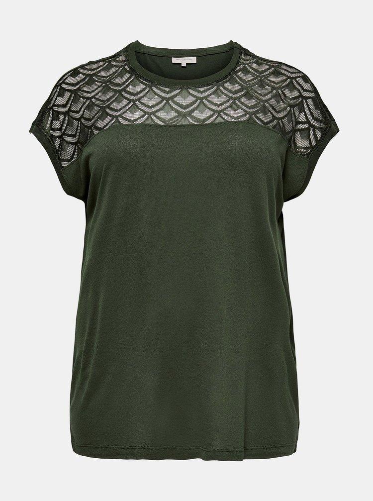 Tmavě zelený top s krajkovými detaily ONLY CARMAKOMA Flake