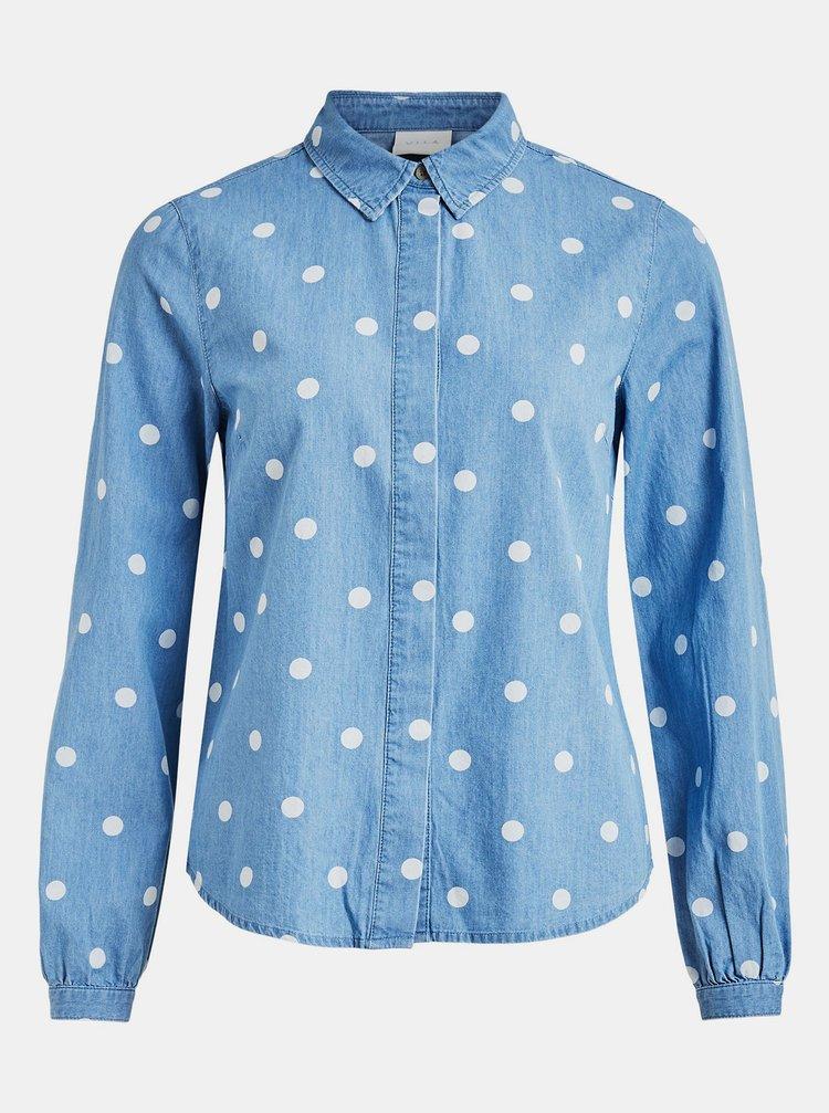 Modrá džínová puntíkovaná košile VILA