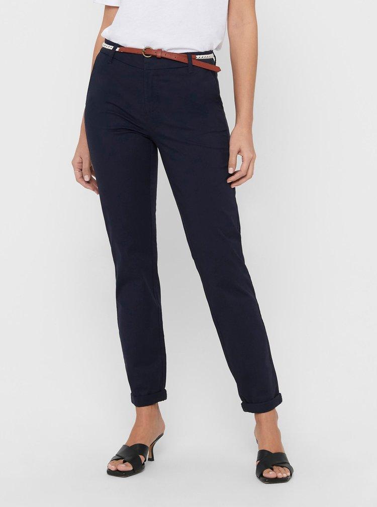 Tmavě modré kalhoty s páskem ONLY Biana