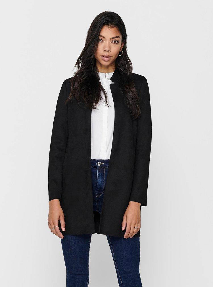 Černý lehký kabát v semišové úpravě ONLY Soho