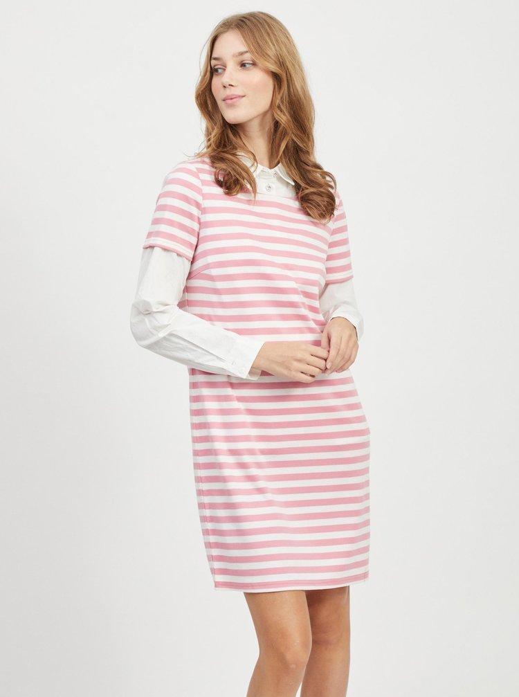 Růžovo-bílé pruhované šaty VILA