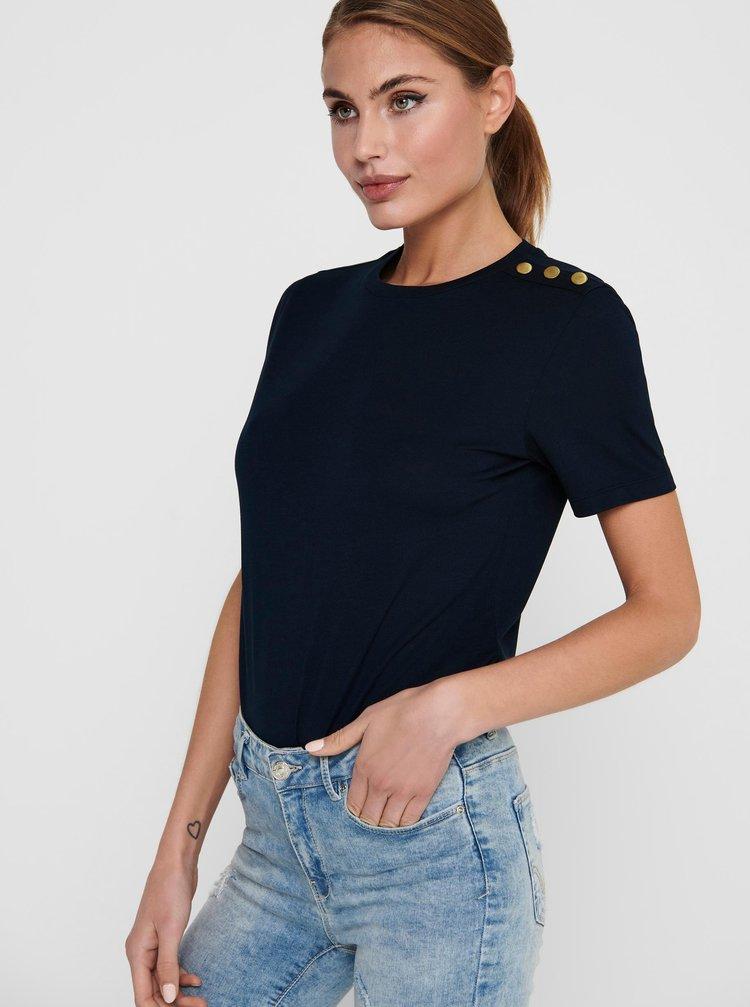 Tmavě modré tričko s ozdobnými detaily Jacqueline de Yong London