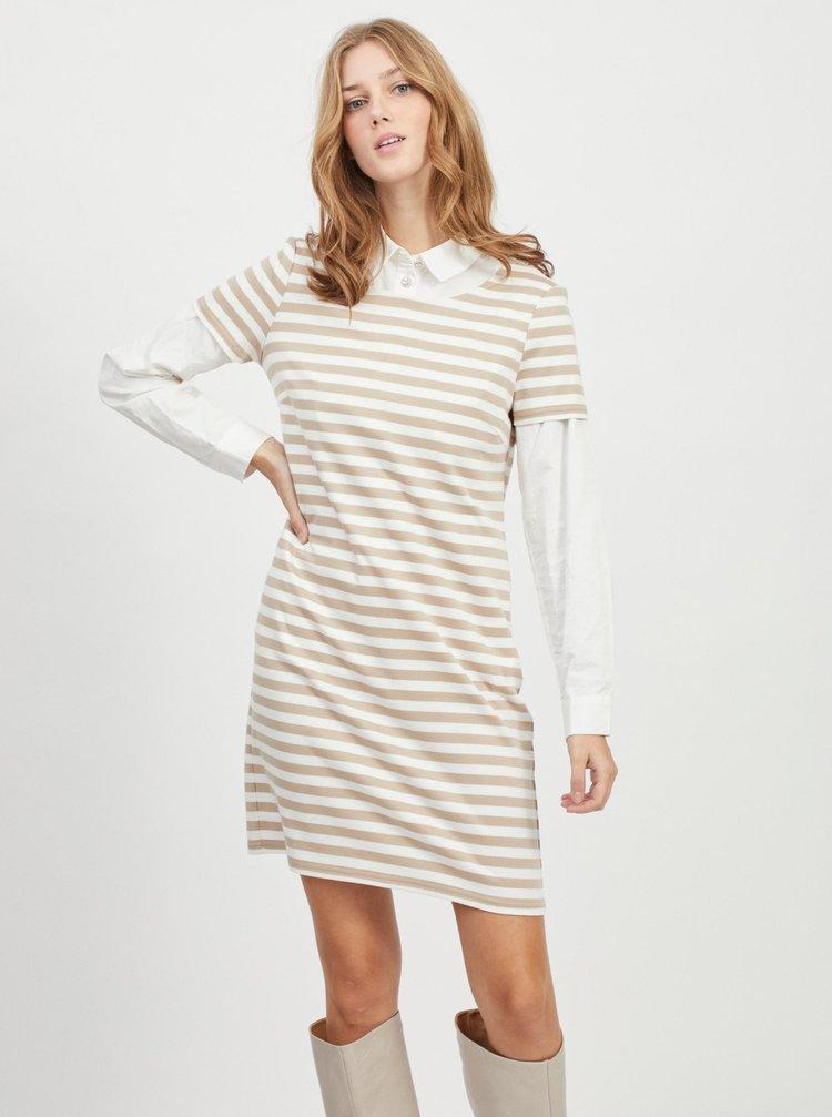Béžovo-bílé pruhované šaty VILA