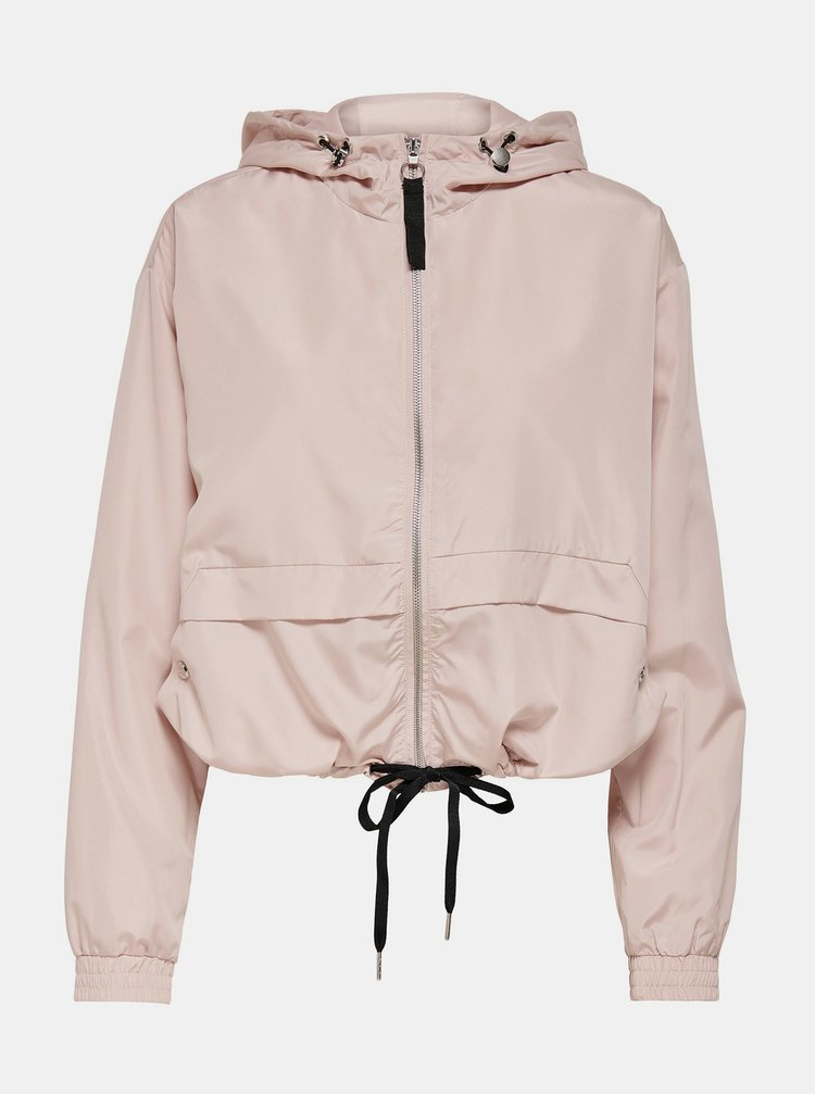 Světle růžová krátká bunda s kapucí ONLY