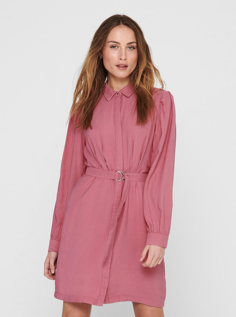 Růžové košilové šaty ONLY Aris