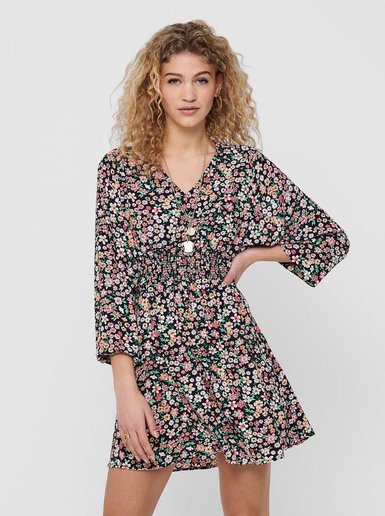 Čierne kvetované šaty ONLY Tamara