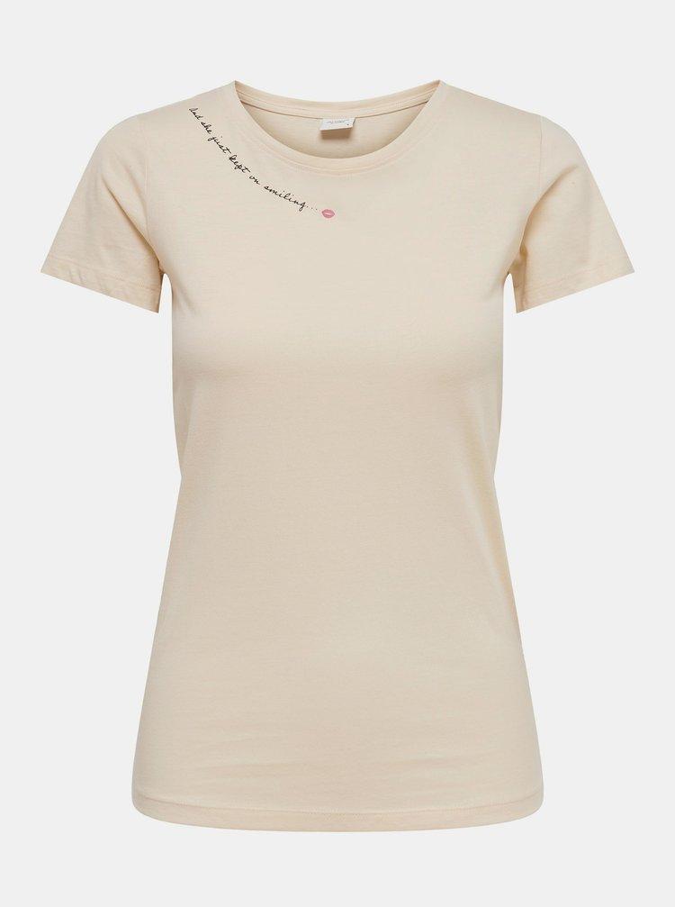 Krémové tričko Jacqueline de Yong Chicago