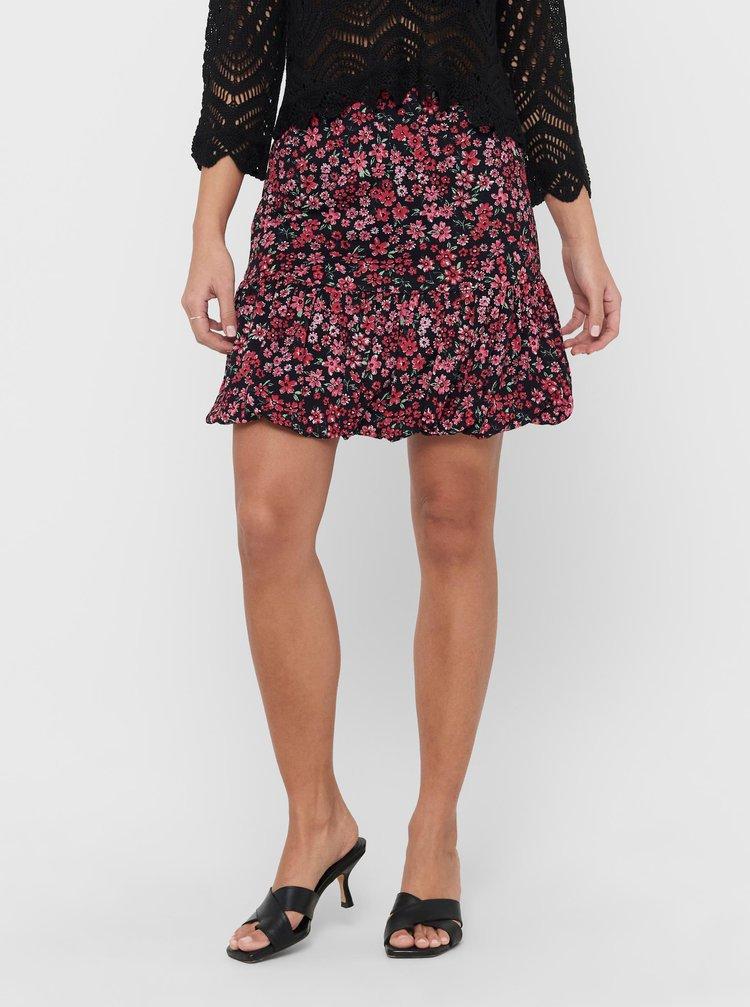 Růžovo-černá květovaná sukně ONLY Pella