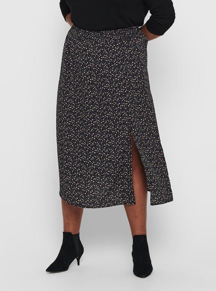 Černá květovaná midi sukně ONLY CARMAKOMA Nori